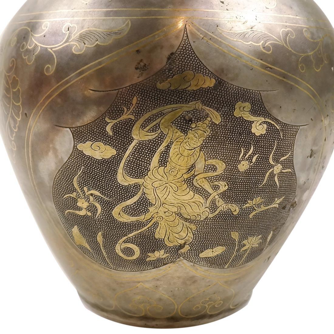 AN ASIAN PARCEL-GILT SILVER BALUSTER JAR - 4