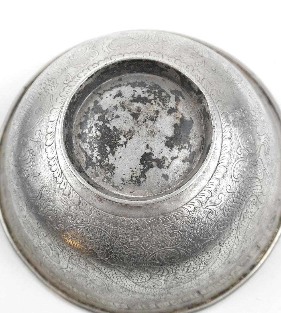 AN ENGRAVED SILVER BOWL, POSSIBLY ASIAN - 5