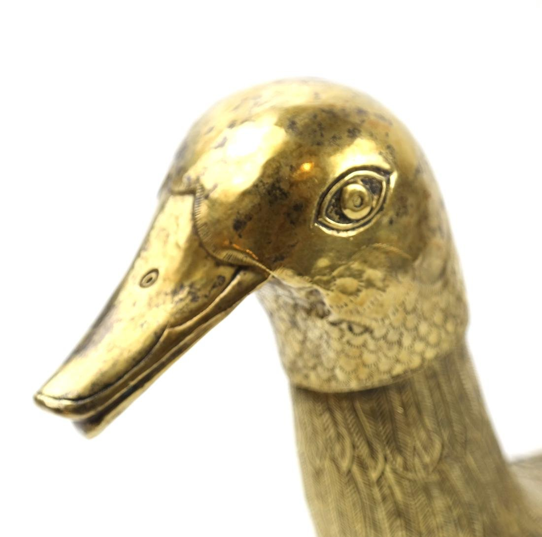 AN ASIAN LARGE BRASS DUCK-FORM VESSEL AND COVER - 6