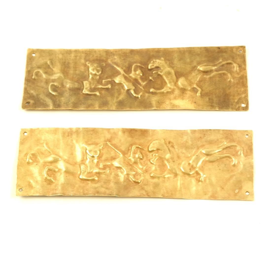 2 ASIAN SMALL RECTANGULAR GOLD SHEET PLAQUES
