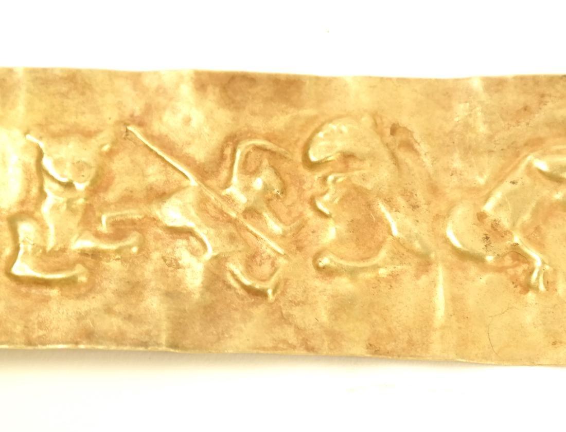2 ASIAN SMALL RECTANGULAR GOLD SHEET PLAQUES - 4