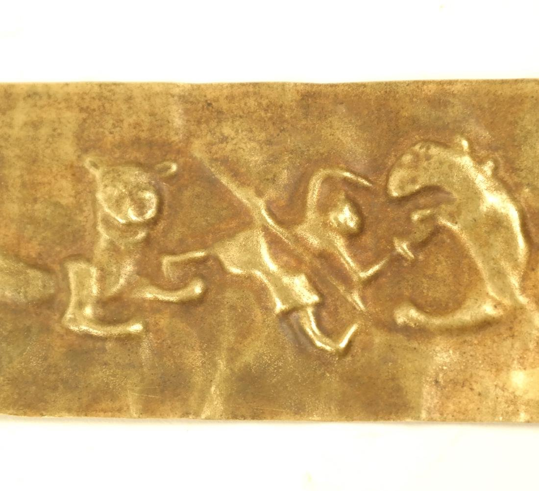 2 ASIAN SMALL RECTANGULAR GOLD SHEET PLAQUES - 5