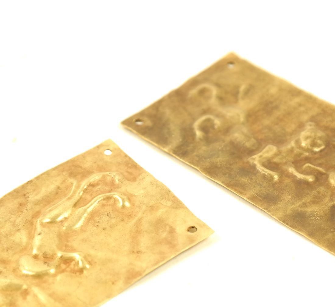 2 ASIAN SMALL RECTANGULAR GOLD SHEET PLAQUES - 6