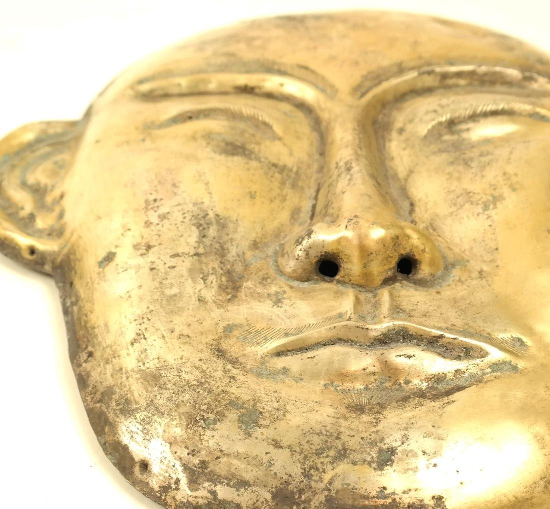 A PAIR OF LARGE SILVER-GILT FUNERARY STYLE MASKS - 6