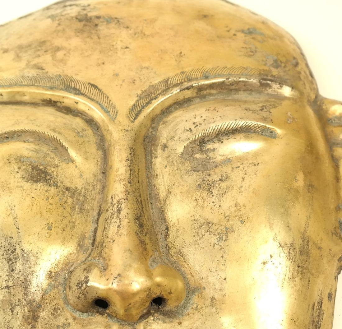 A PAIR OF LARGE SILVER-GILT FUNERARY STYLE MASKS - 7