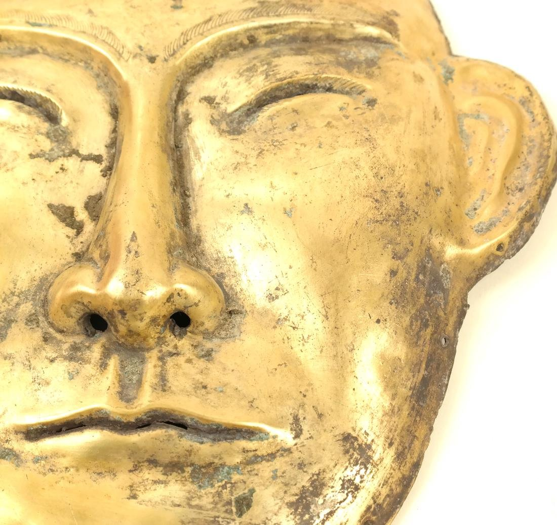 A PAIR OF LARGE SILVER-GILT FUNERARY STYLE MASKS - 8