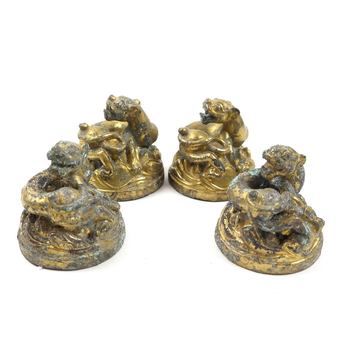 4 ASIAN GILT-BRONZE ANIMAL-FORM WEIGHTS