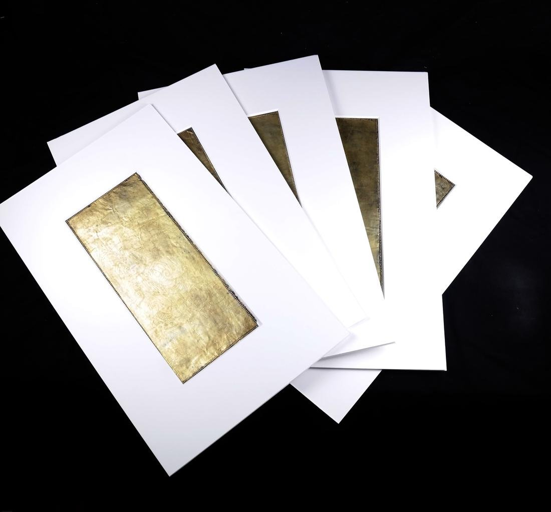5 ASIAN GILT-SILVER RECTANGULAR MANUSCRIPT SHEETS
