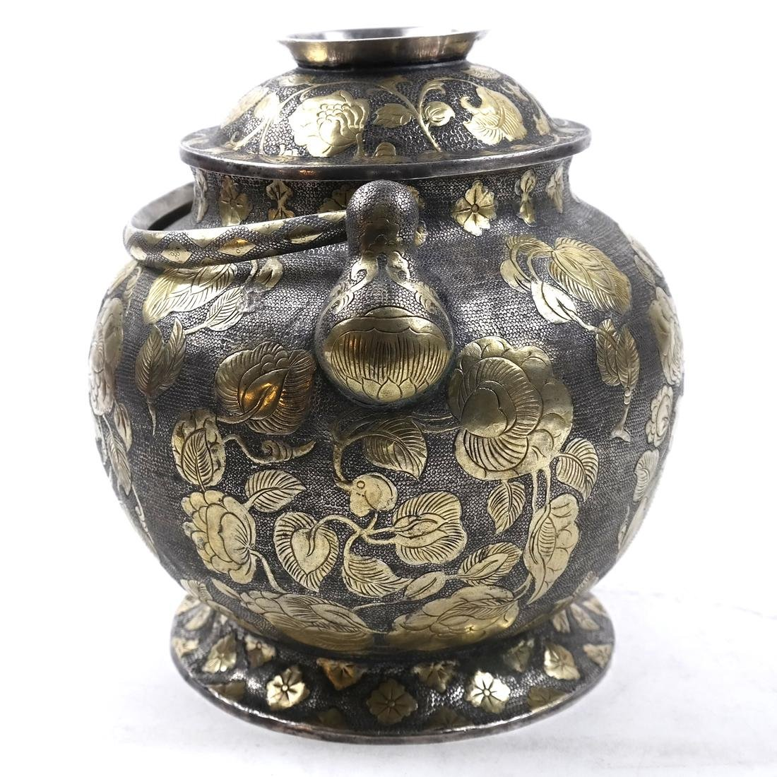 AN ASIAN LARGE PARCEL-GILT SILVER GLOBULAR VESSEL AND - 2