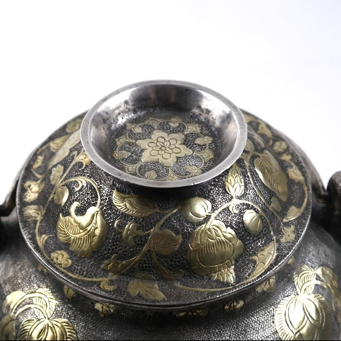 AN ASIAN LARGE PARCEL-GILT SILVER GLOBULAR VESSEL AND - 5