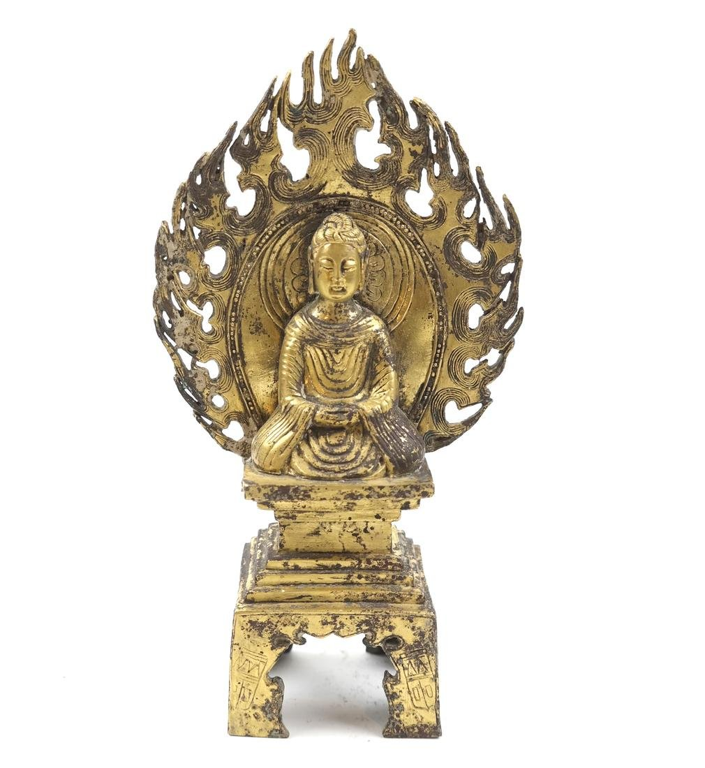 AN ASIAN SMALL GILT-BRONZE SEATED VOTIVE FIGURE OF - 2