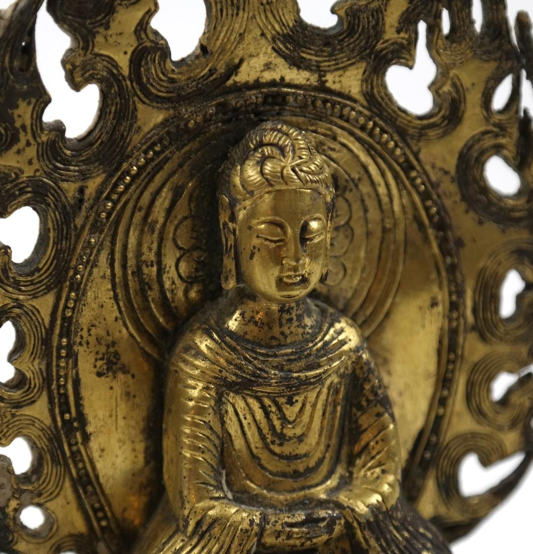 AN ASIAN SMALL GILT-BRONZE SEATED VOTIVE FIGURE OF - 7