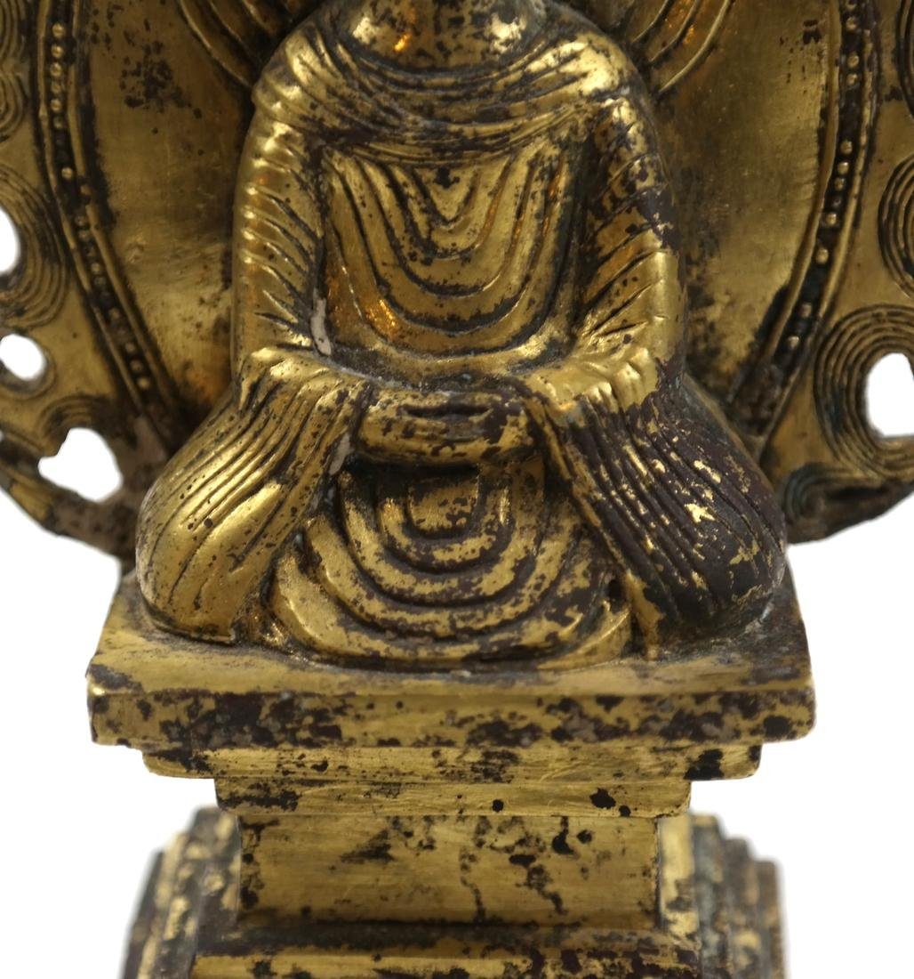 AN ASIAN SMALL GILT-BRONZE SEATED VOTIVE FIGURE OF - 8