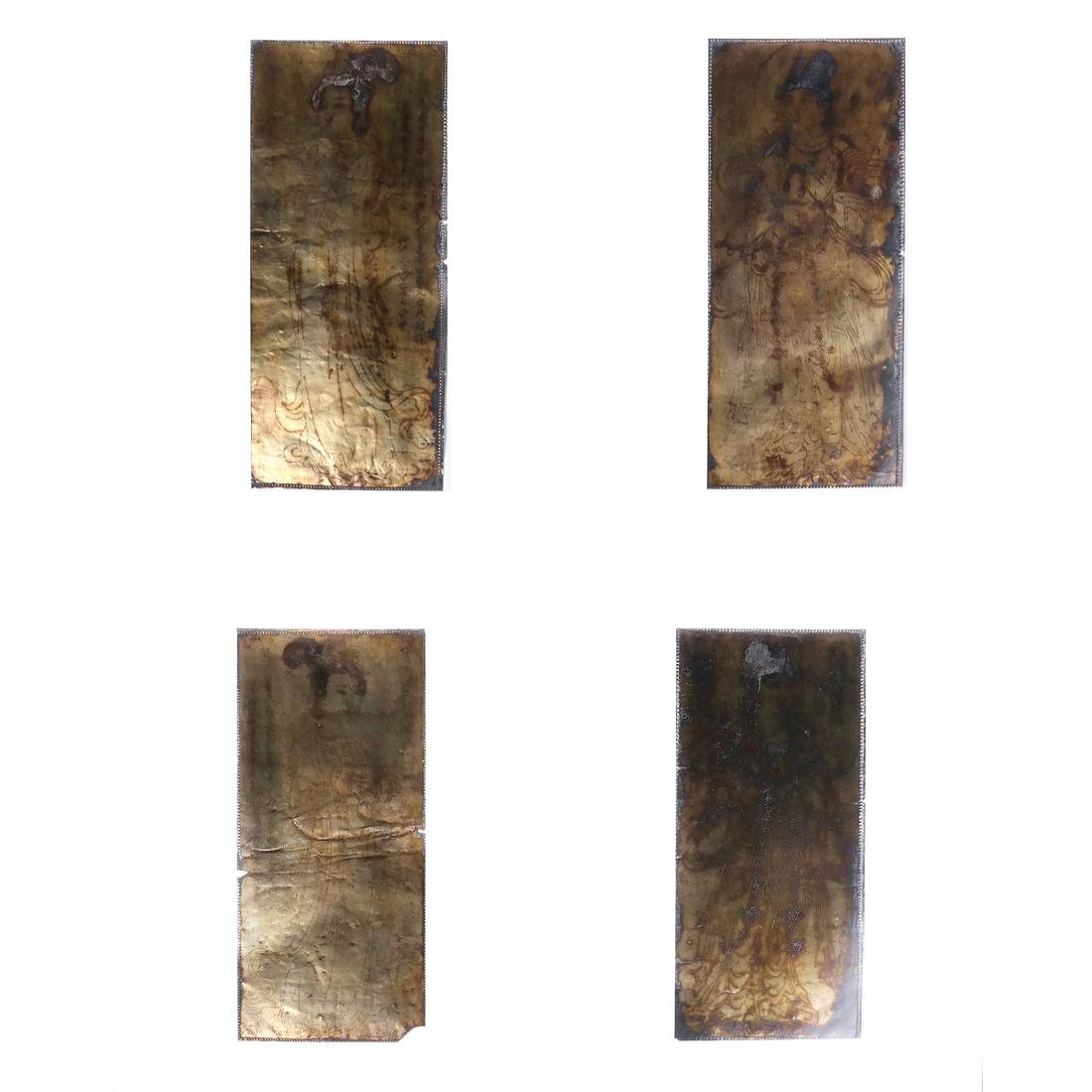 4 ASIAN GILT-SILVER RECTANGULAR MANUSCRIPT SHEETS