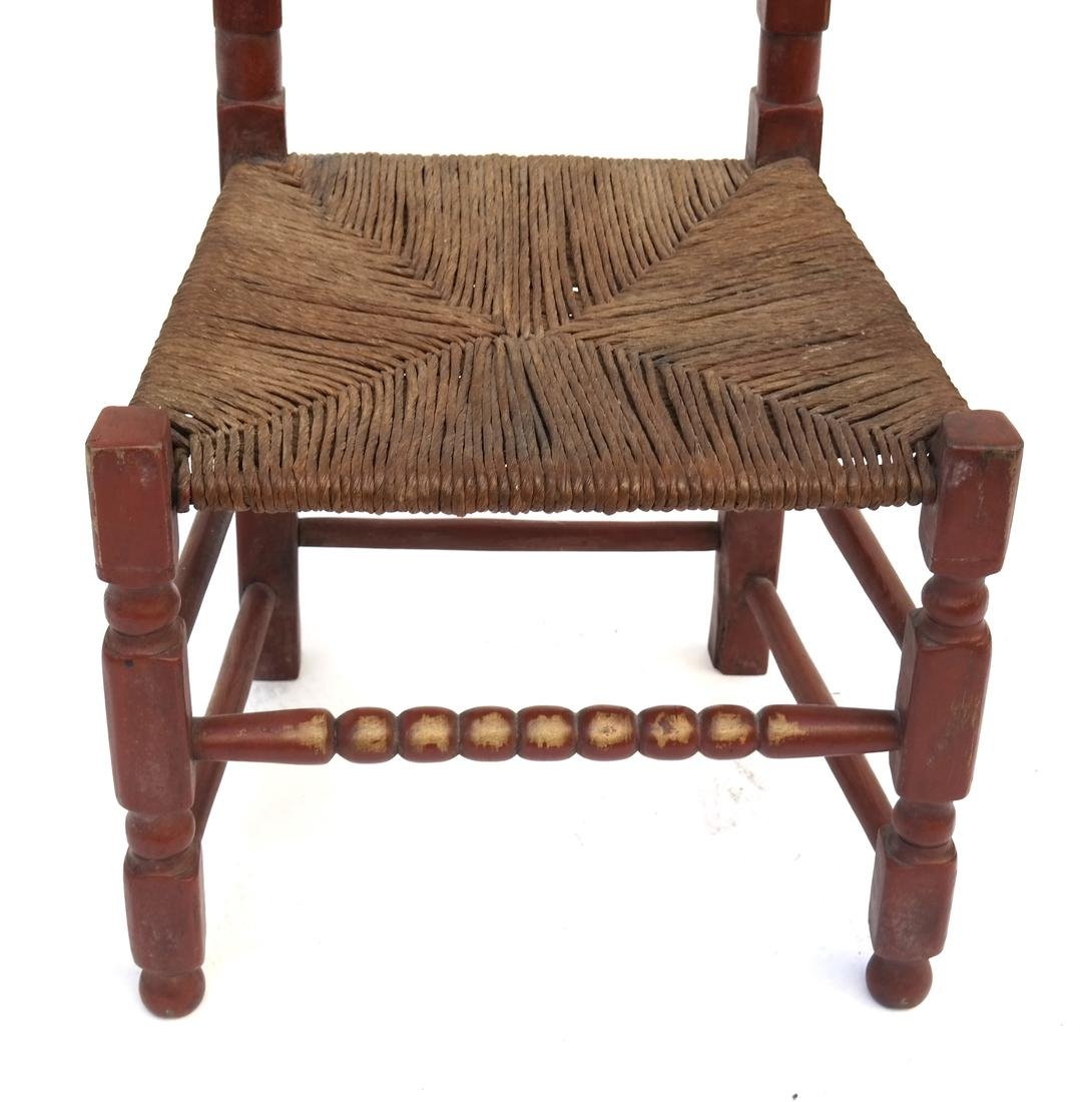 A RED-PAINTED TURNED-MAPLE BANNISTER-BACK SIDE CHAIR, - 2
