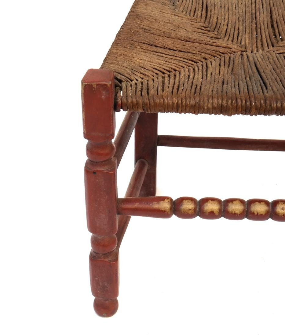 A RED-PAINTED TURNED-MAPLE BANNISTER-BACK SIDE CHAIR, - 3