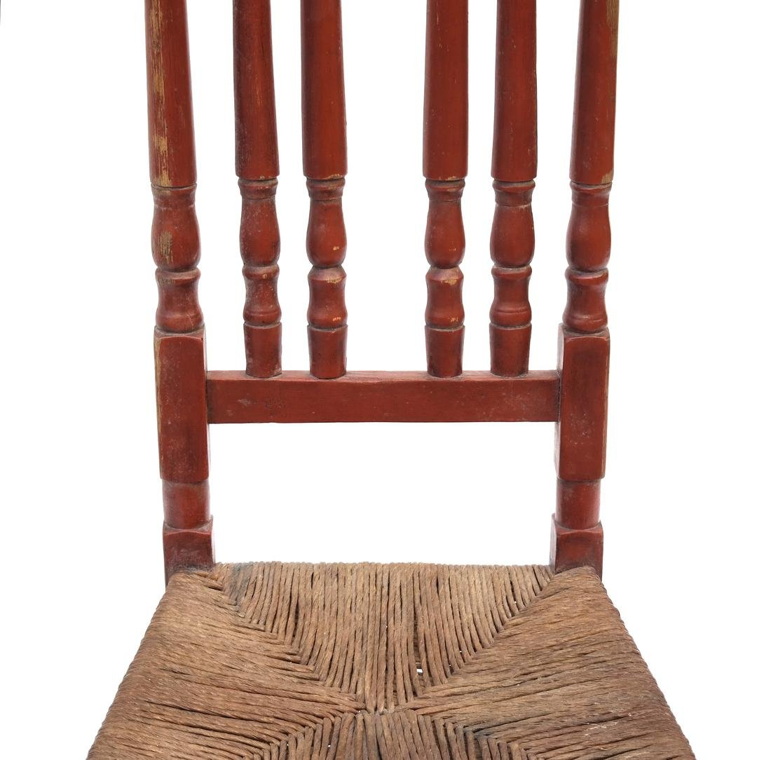 A RED-PAINTED TURNED-MAPLE BANNISTER-BACK SIDE CHAIR, - 4