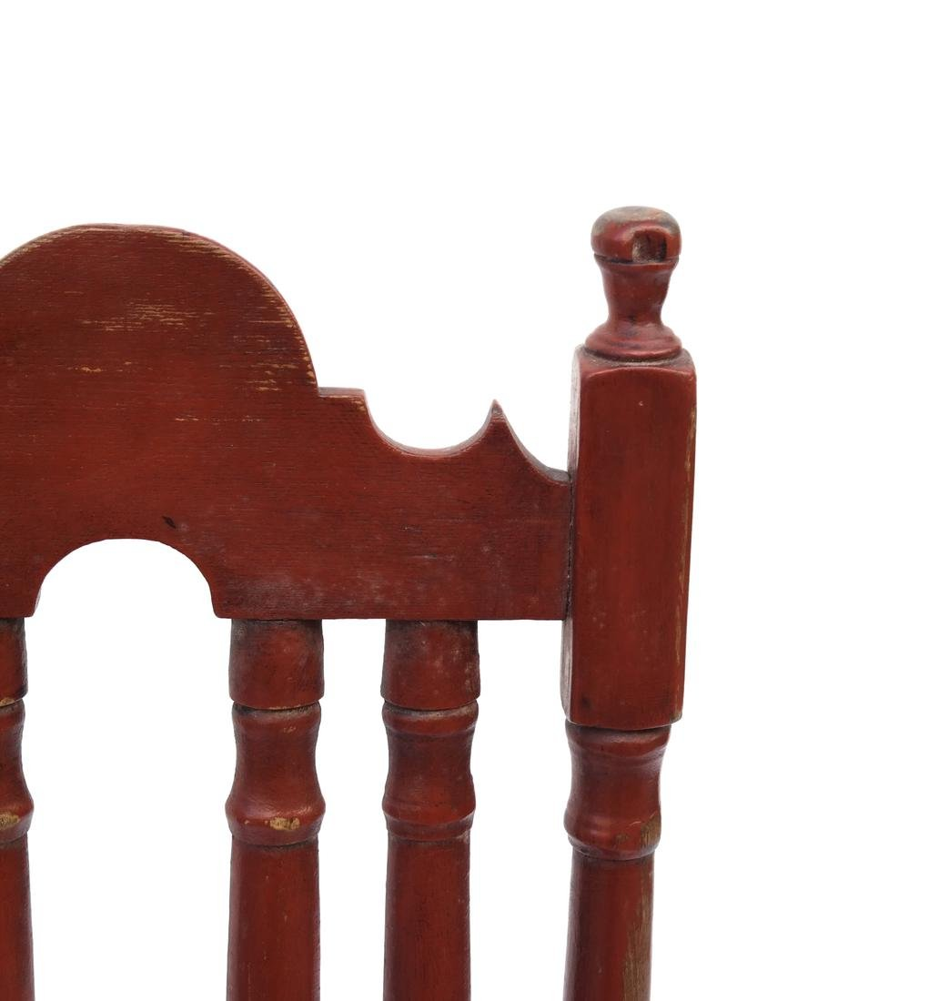 A RED-PAINTED TURNED-MAPLE BANNISTER-BACK SIDE CHAIR, - 5