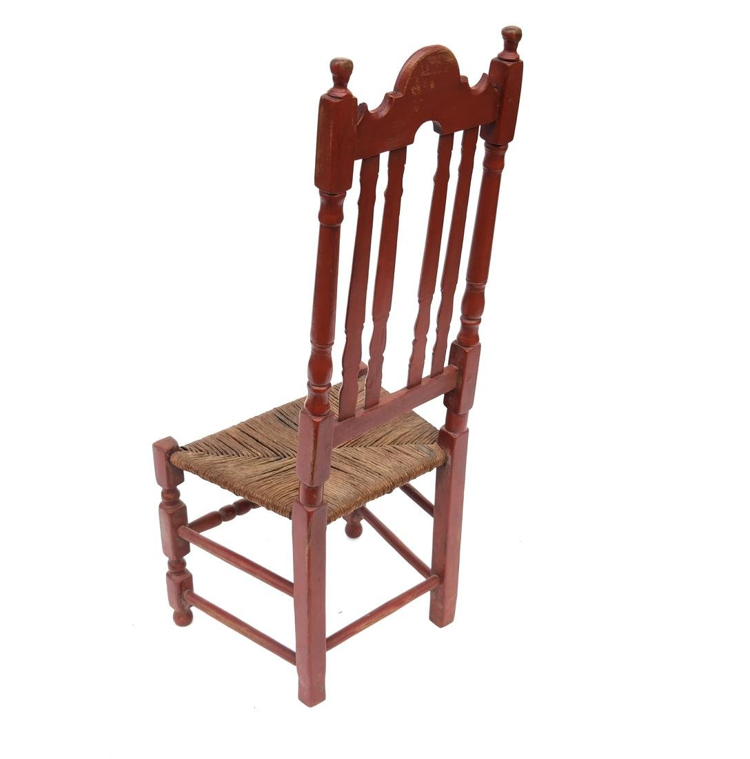 A RED-PAINTED TURNED-MAPLE BANNISTER-BACK SIDE CHAIR, - 7