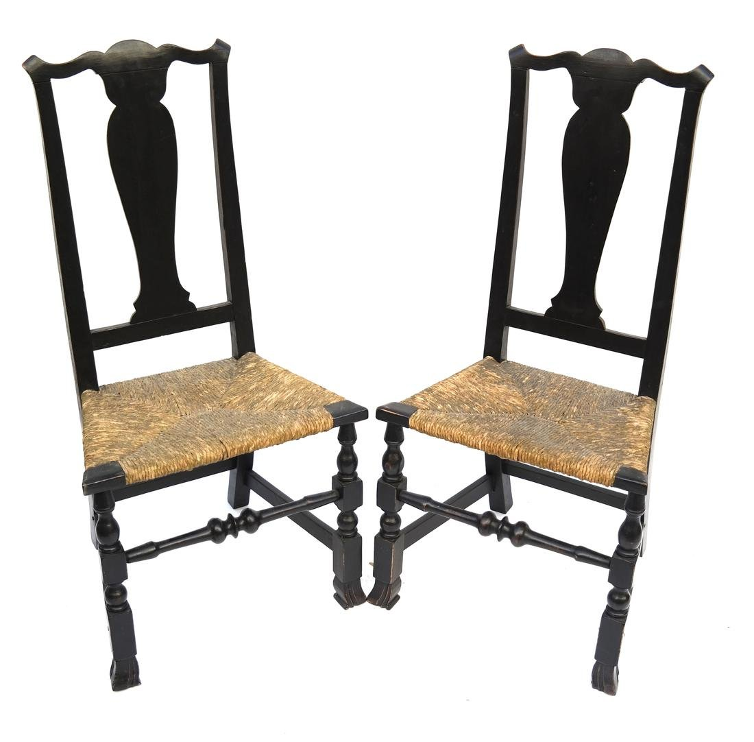 A PAIR OF QUEEN ANNE RUSH-SEAT SIDE CHAIRS, 1730-1750