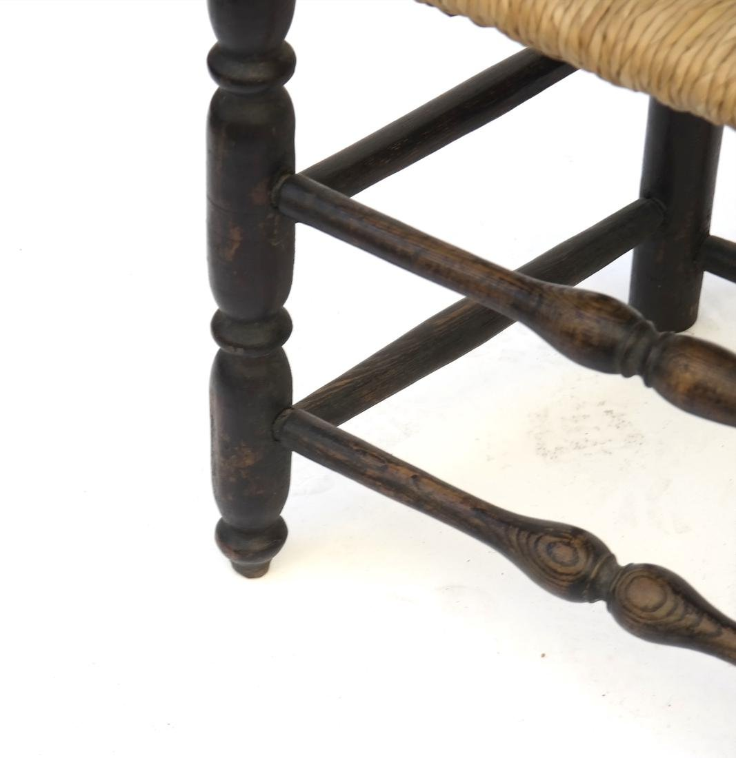 BLACK-PAINTED BANNISTER-BACK SIDE CHAIR, 18TH C - 2
