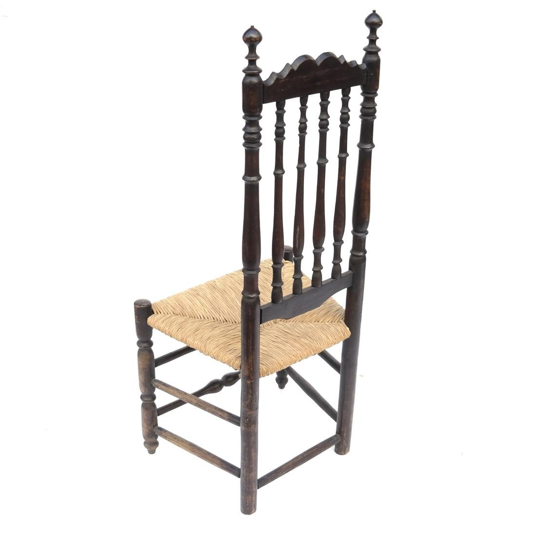 BLACK-PAINTED BANNISTER-BACK SIDE CHAIR, 18TH C - 7