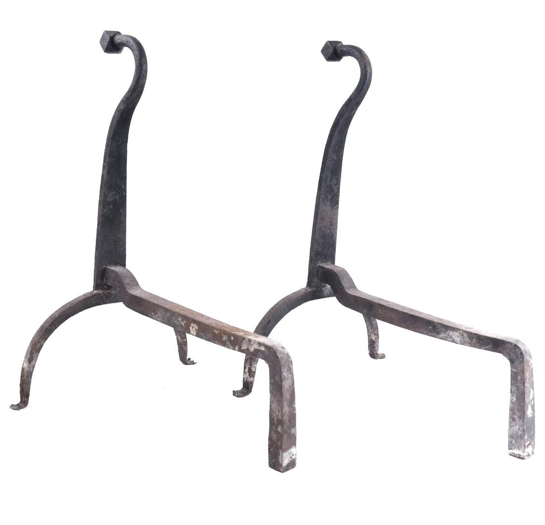 A PAIR OF ANTIQUE WROUGHT IRON ANDIRONS - 2
