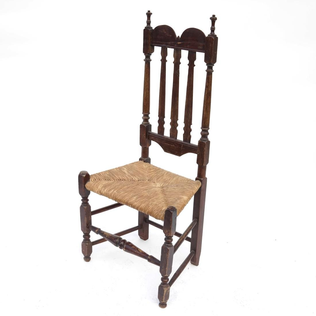 BANNISTER-BACK RUSH SEAT SIDE CHAIR NEW ENGLAND,