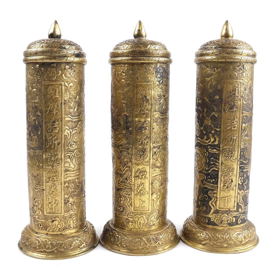 3 SOUTHEAST ASIAN METAL CYLINDRICAL SUTRA HOLDERS