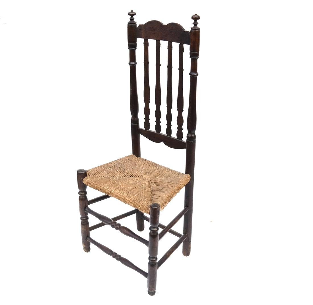 WILLIAM & MARY BANNISTER-BACK RUSH-SEAT CHAIR, 18TH C.