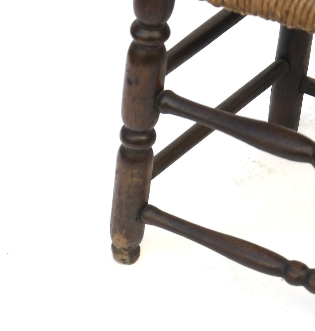 WILLIAM & MARY BANNISTER-BACK RUSH-SEAT CHAIR, 18TH C. - 2