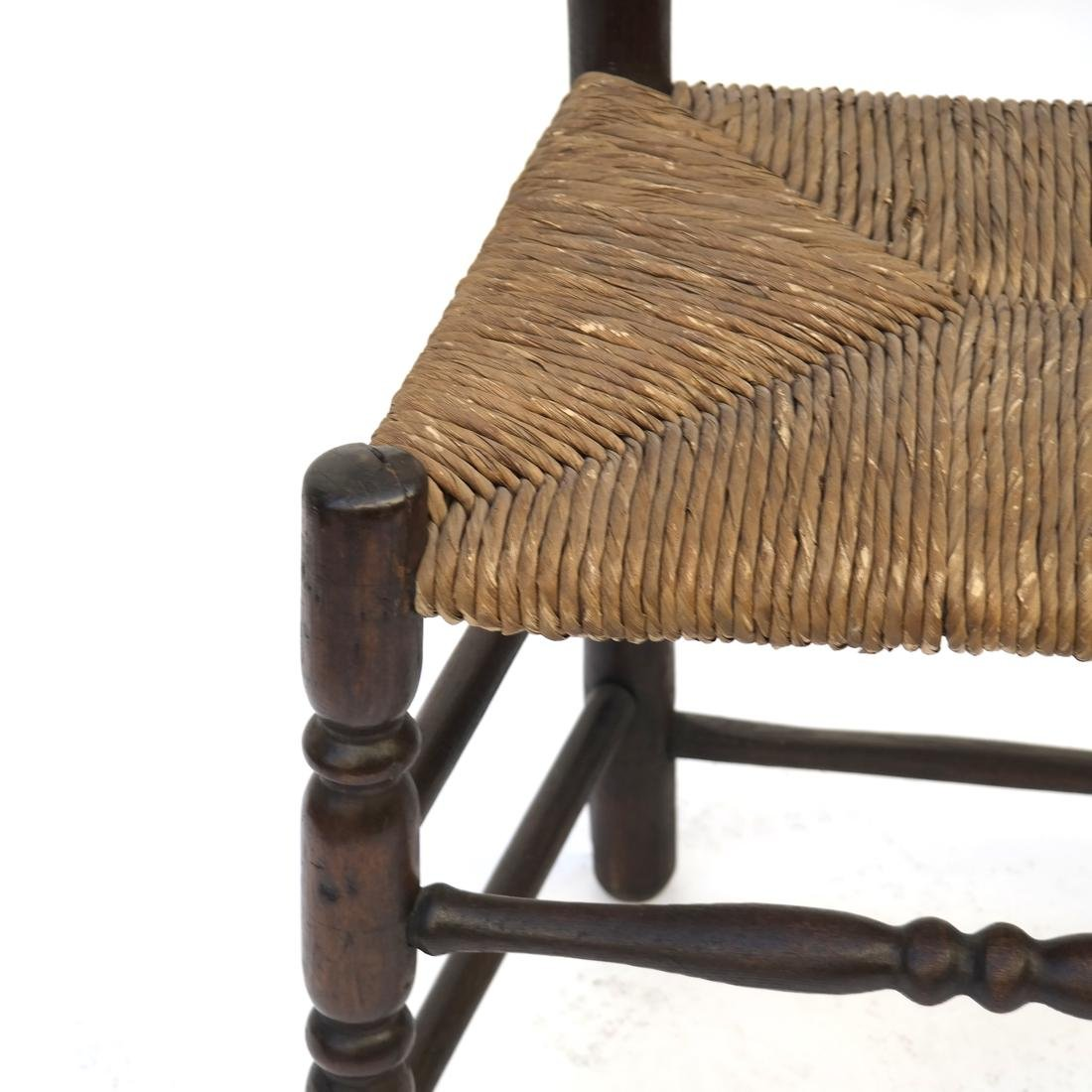 WILLIAM & MARY BANNISTER-BACK RUSH-SEAT CHAIR, 18TH C. - 3