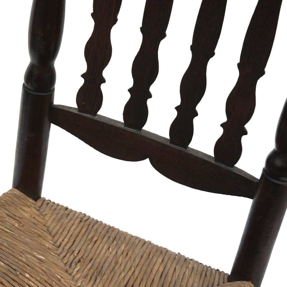 WILLIAM & MARY BANNISTER-BACK RUSH-SEAT CHAIR, 18TH C. - 5
