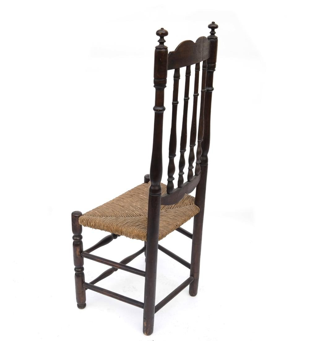WILLIAM & MARY BANNISTER-BACK RUSH-SEAT CHAIR, 18TH C. - 6