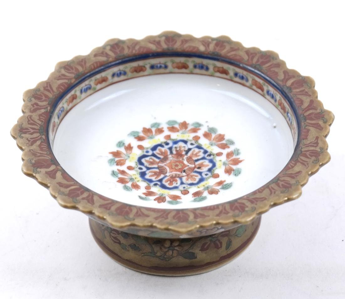 AN ENAMELED&GILT-DECORATED BENCHERONG STEM DISH - 2