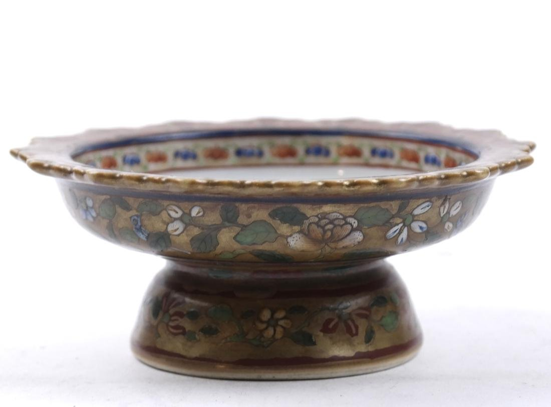 AN ENAMELED&GILT-DECORATED BENCHERONG STEM DISH - 5