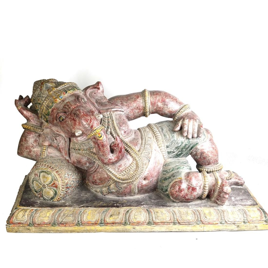 Asian Carved Wood Elephant Sculpture