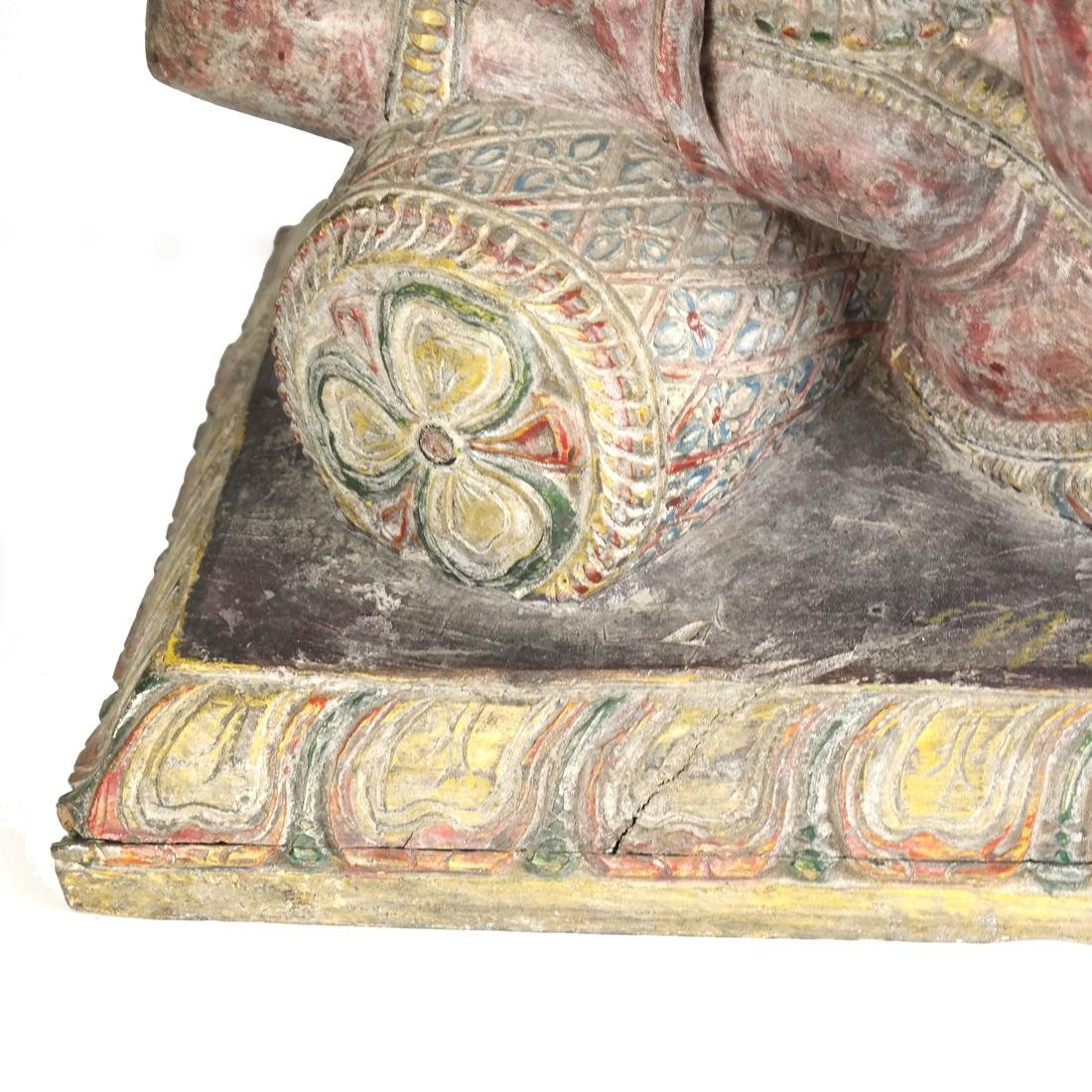 Asian Carved Wood Elephant Sculpture - 4