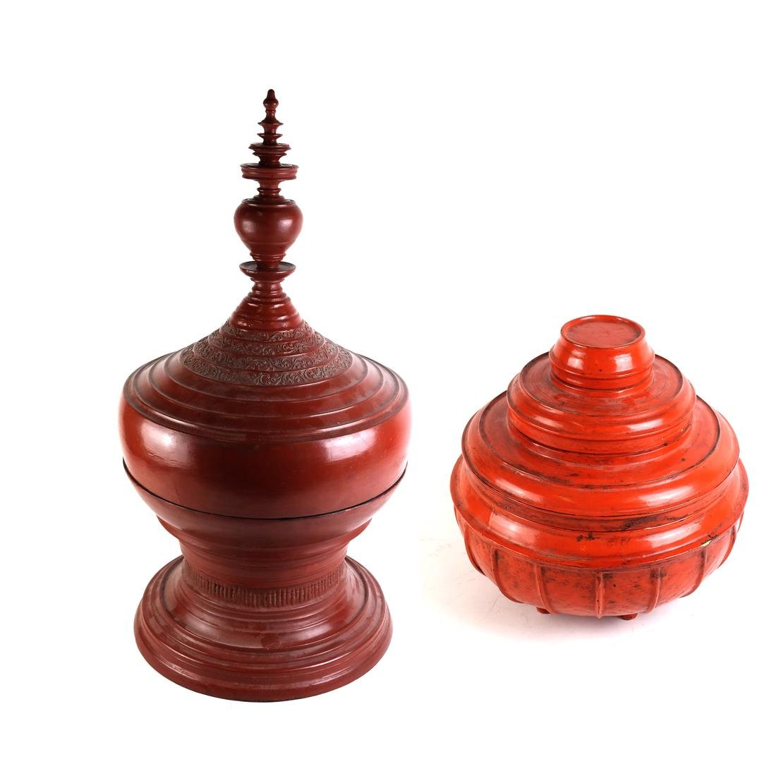 "Burmese Red Lacquer Offering Vessel ""Hsunok"", other"