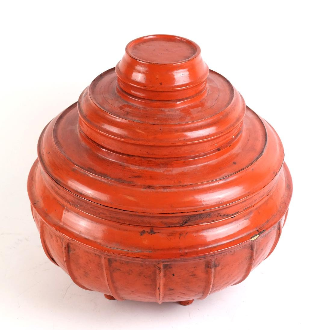 """Burmese Red Lacquer Offering Vessel """"Hsunok"""", other - 6"""