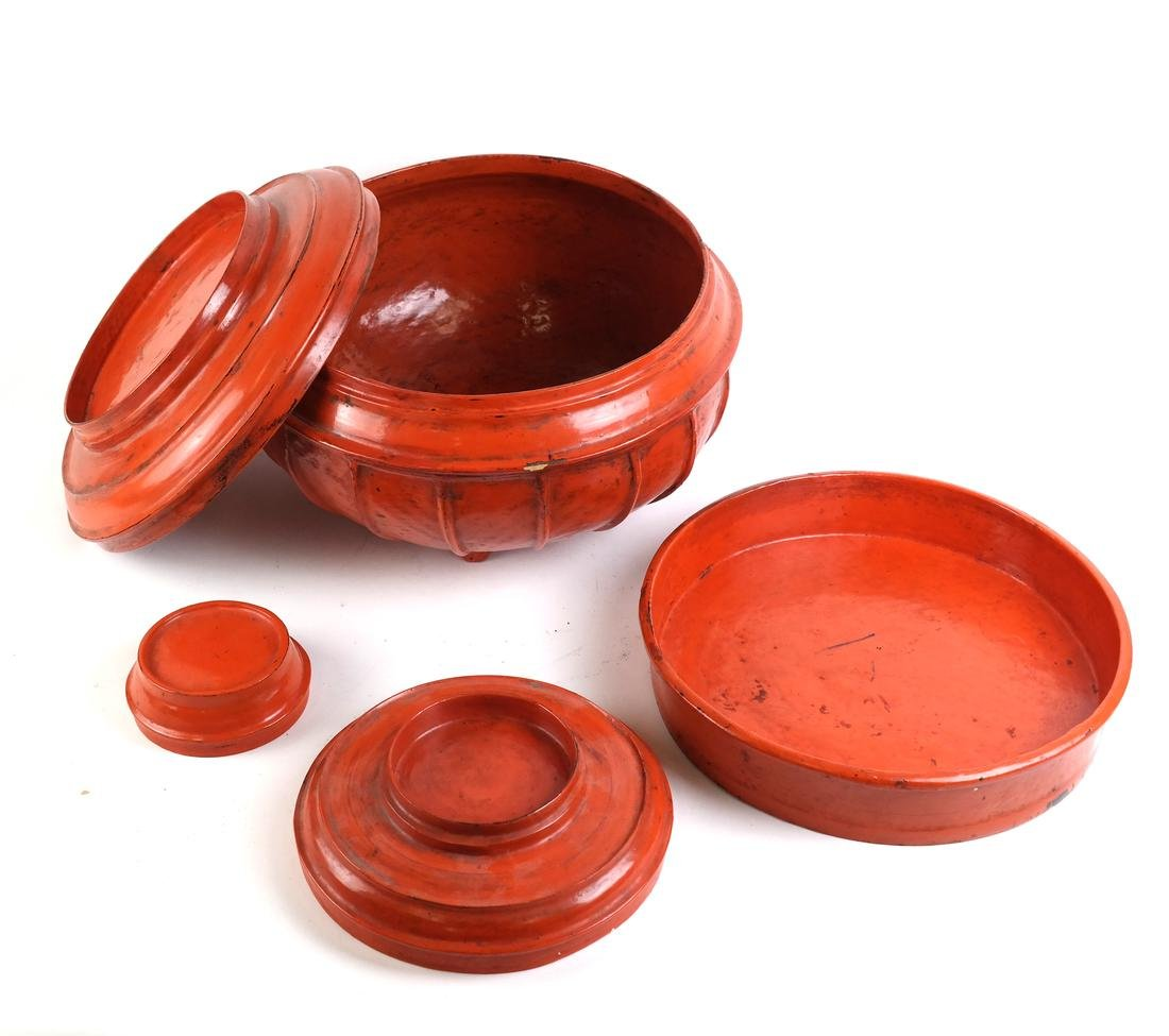 """Burmese Red Lacquer Offering Vessel """"Hsunok"""", other - 7"""