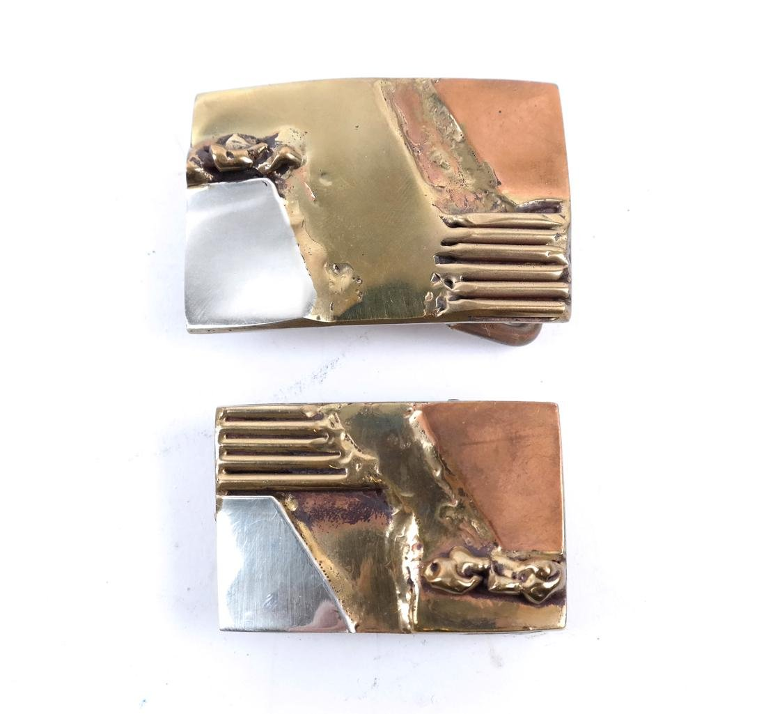 Two Mixed Metal Belt Buckles