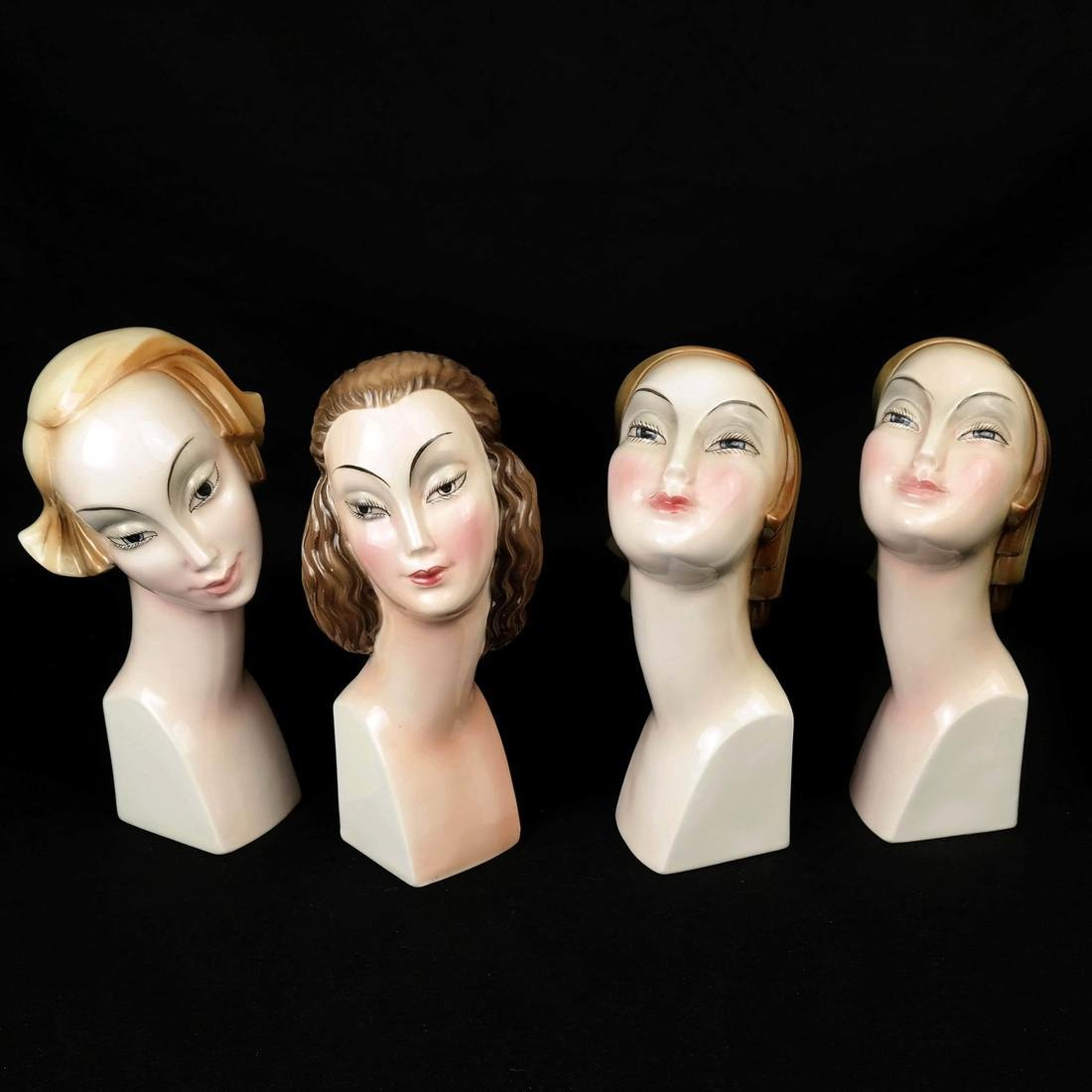 Four Art Deco Style HERTWIG German Female Busts