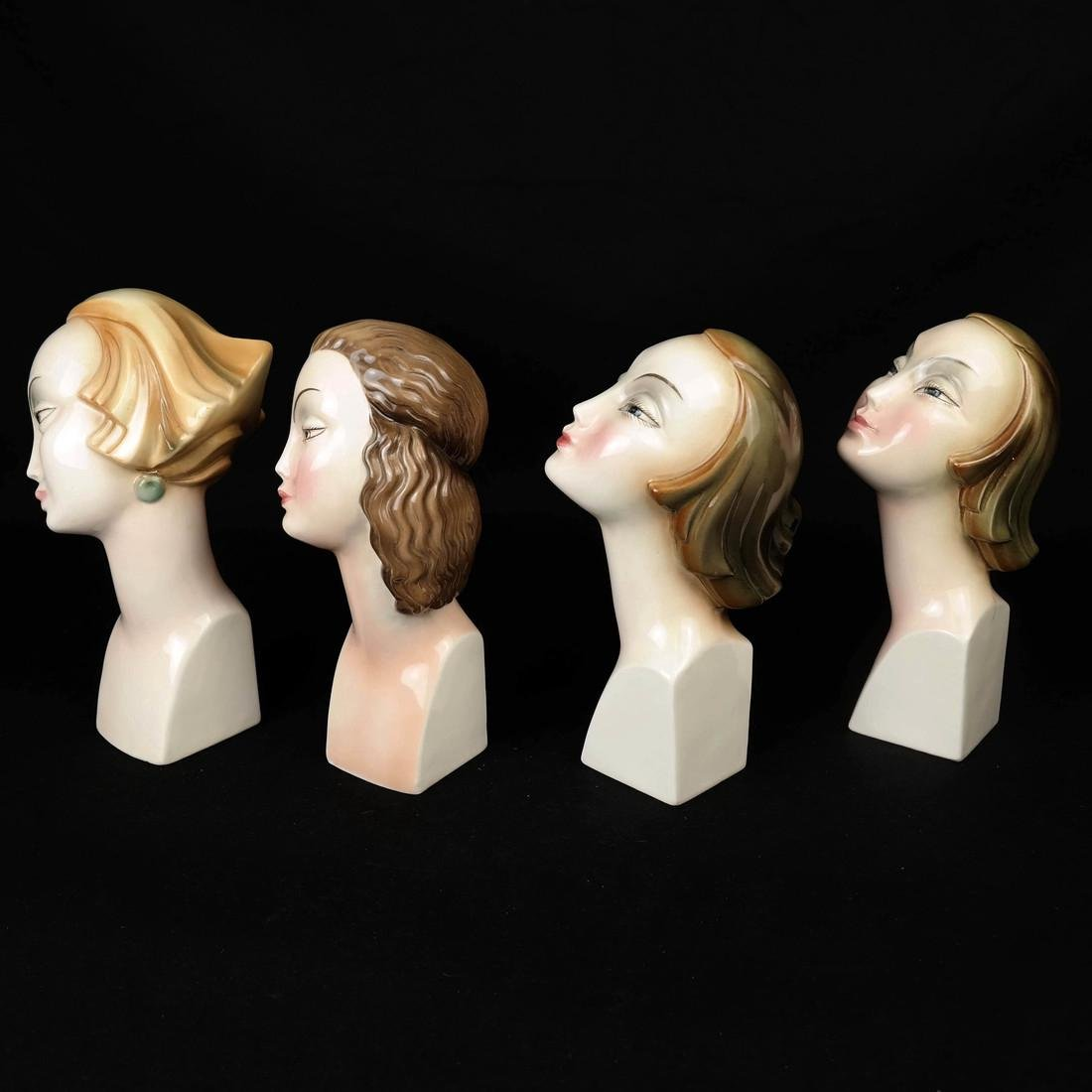 Four Art Deco Style HERTWIG German Female Busts - 2