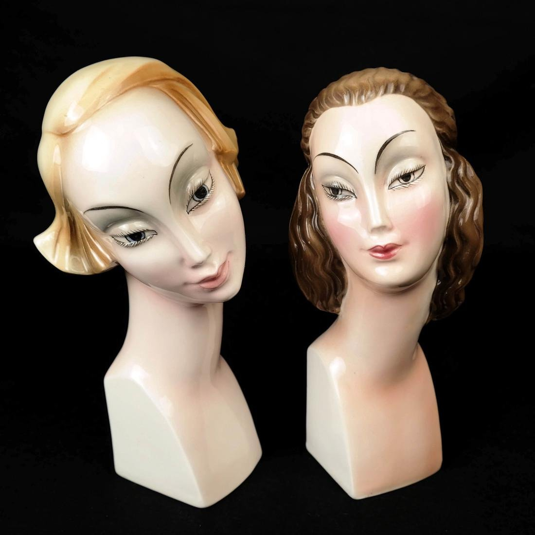 Four Art Deco Style HERTWIG German Female Busts - 7
