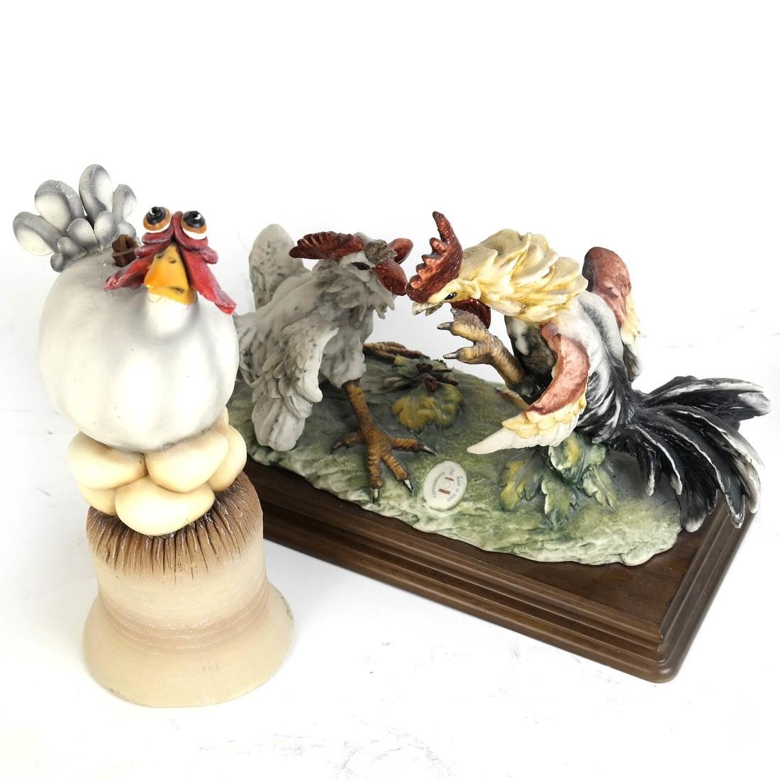 Group of Two Chicken Sculptures