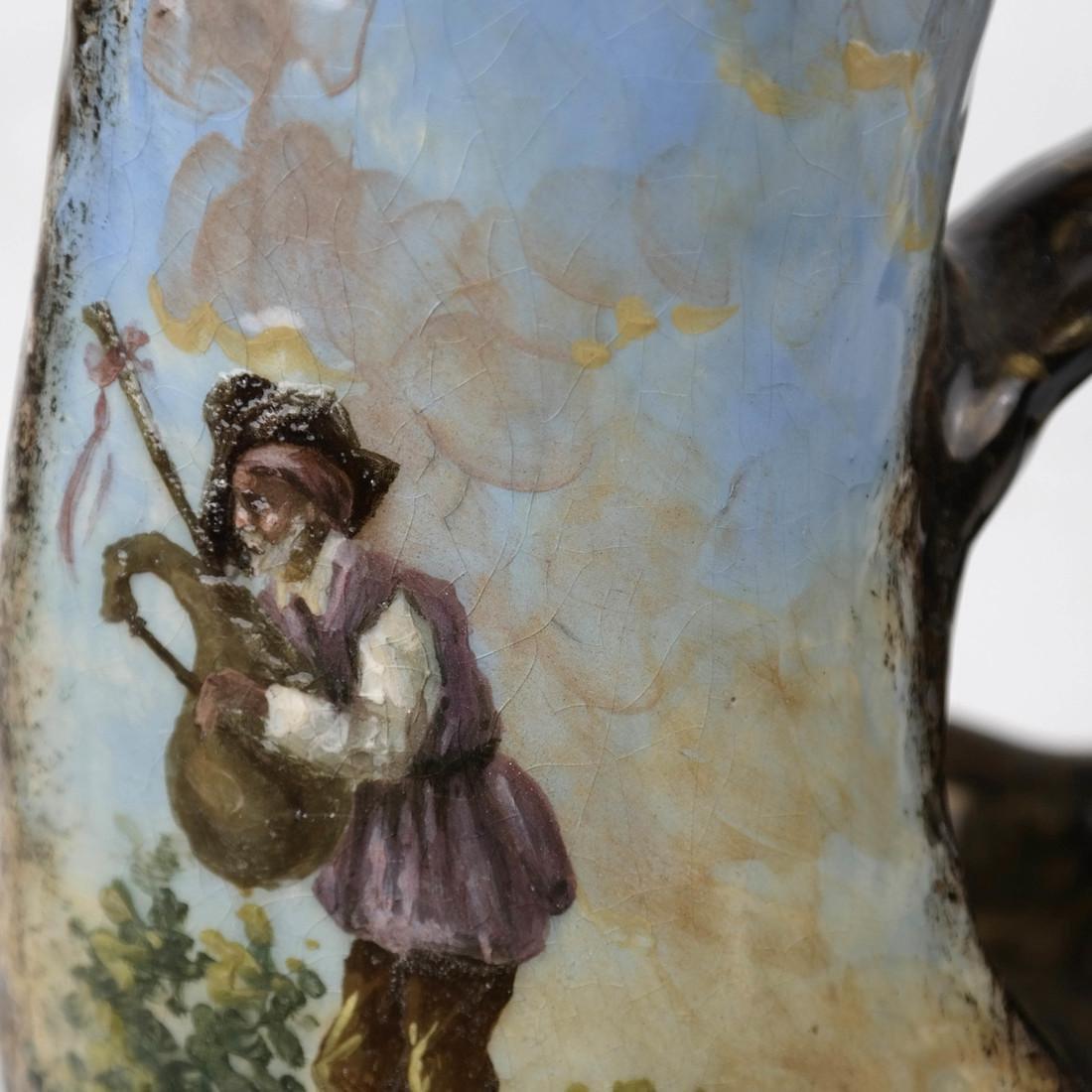 Hand-Painted Scenic Ewer - 6