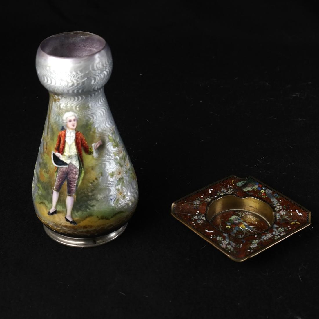 Japanese Cloisonne Ashtray and Enameled Vase on Silver