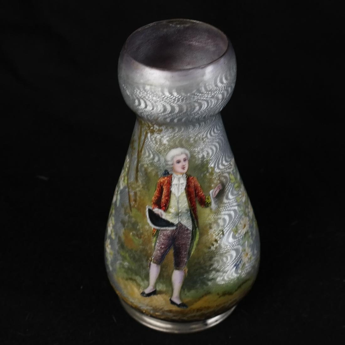 Japanese Cloisonne Ashtray and Enameled Vase on Silver - 2