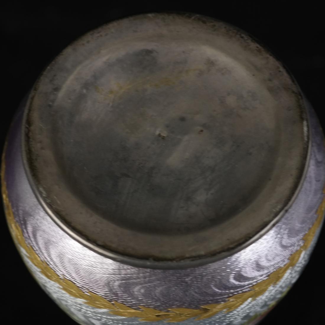 Japanese Cloisonne Ashtray and Enameled Vase on Silver - 5